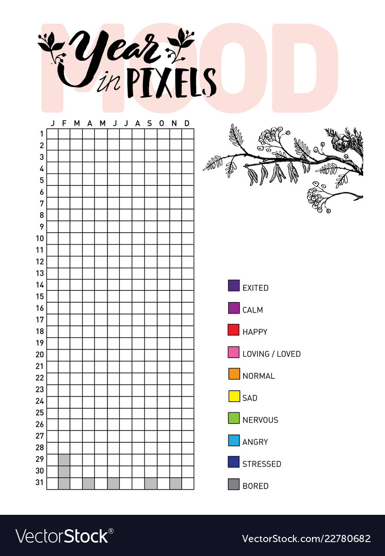 image about Bullet Journal Mood Tracker Printable referred to as Calendar year inside pixels your temper routine tracker blank