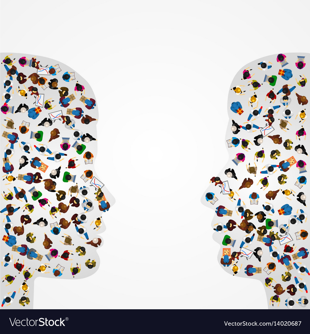 A group of people in a shape of two profiles