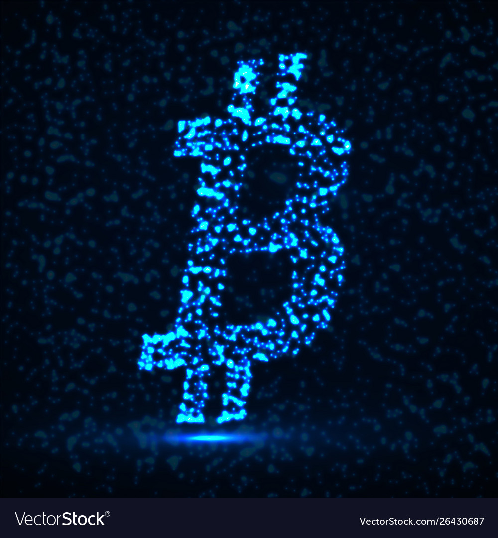 Abstract sign bitcoin glowing particles
