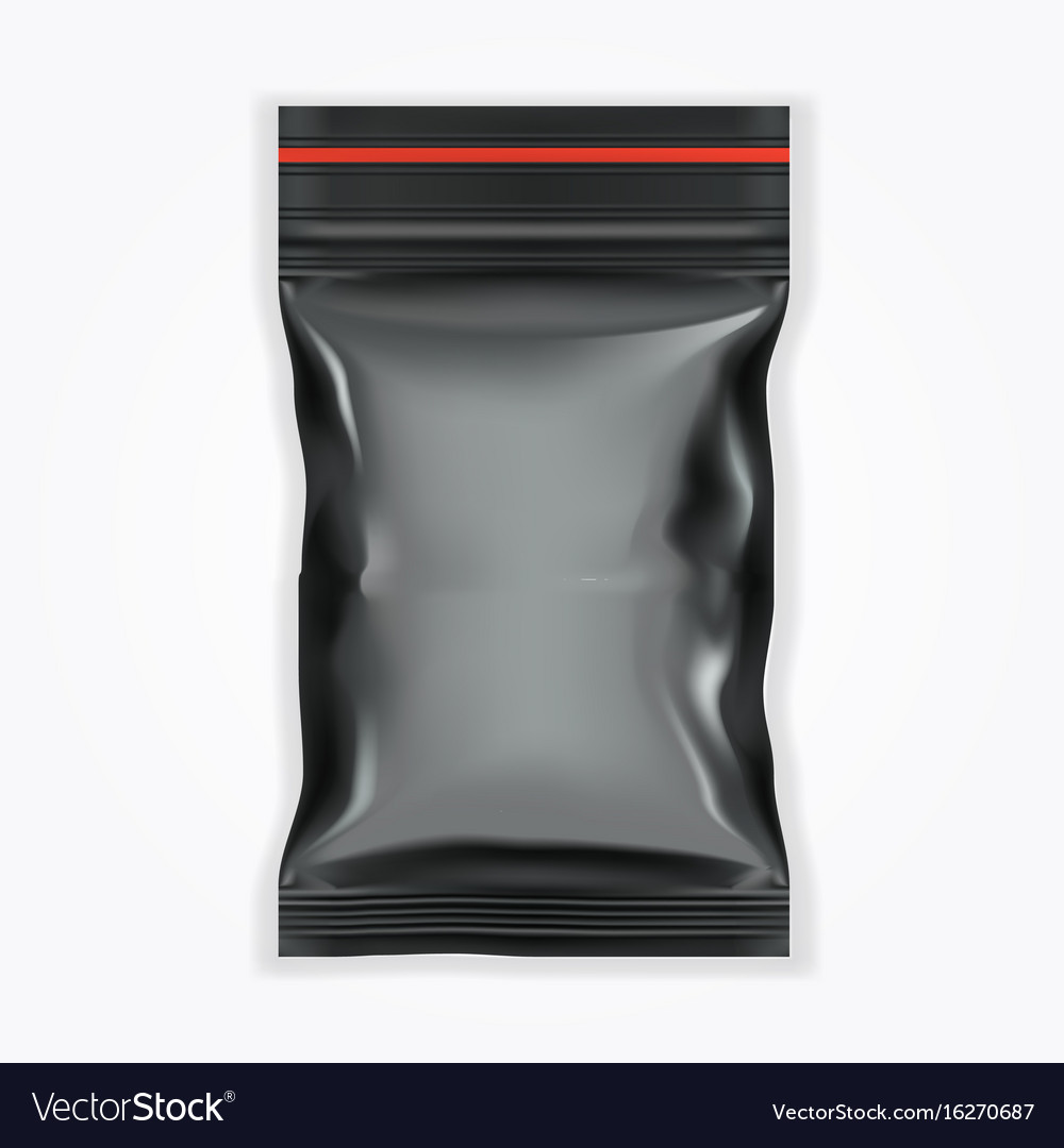 Black Blank Filled Plastic Bag With Ziplock