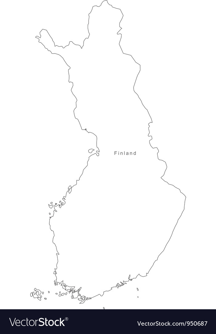 Black White Finland Outline Map vector image