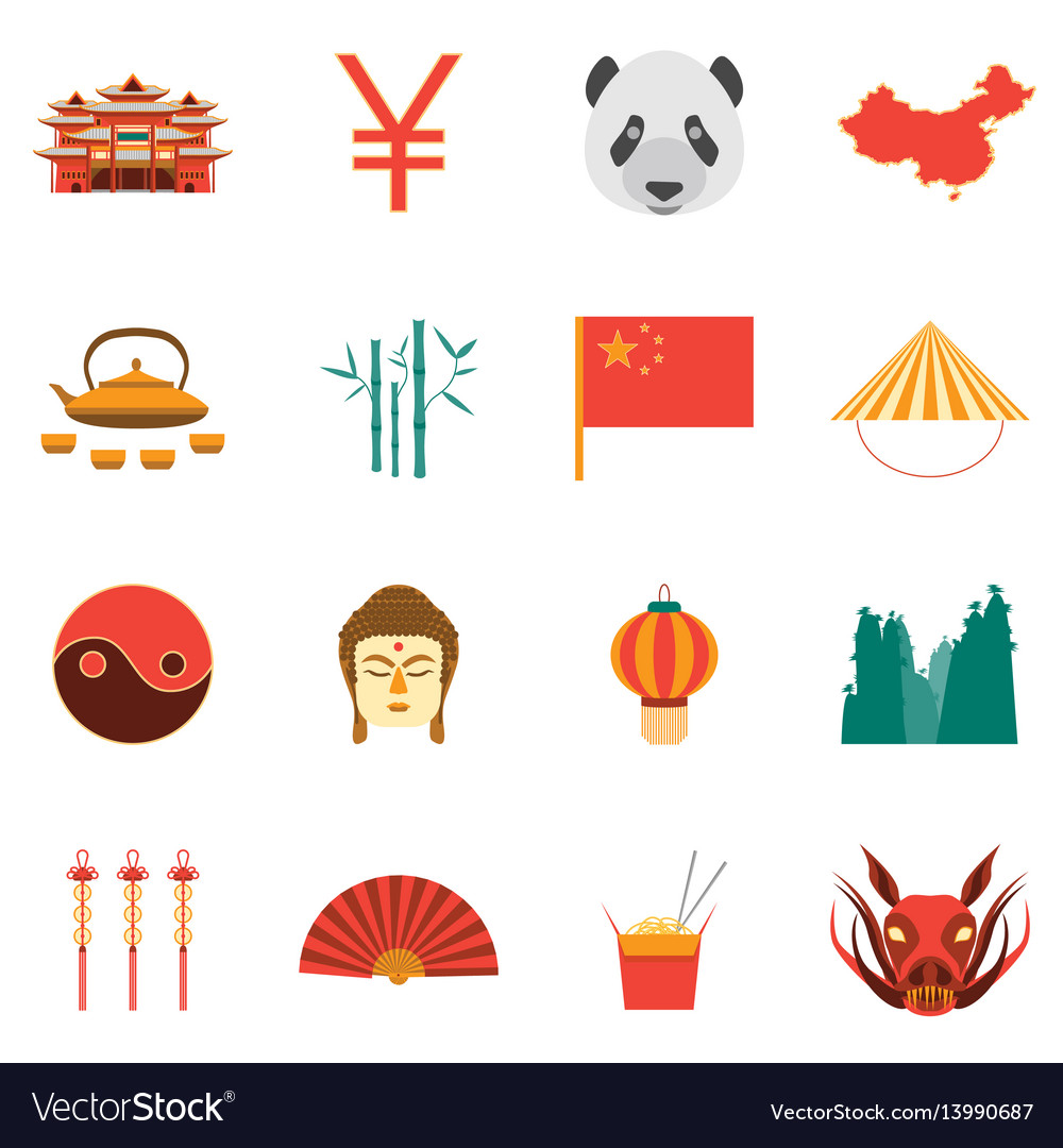Cartoon chinese culture and tourism colorful icons
