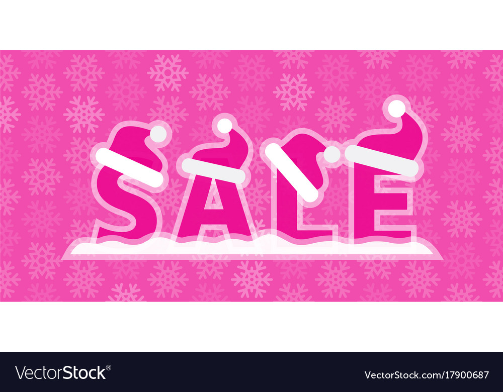 Christmas sale with snow and santa vector image