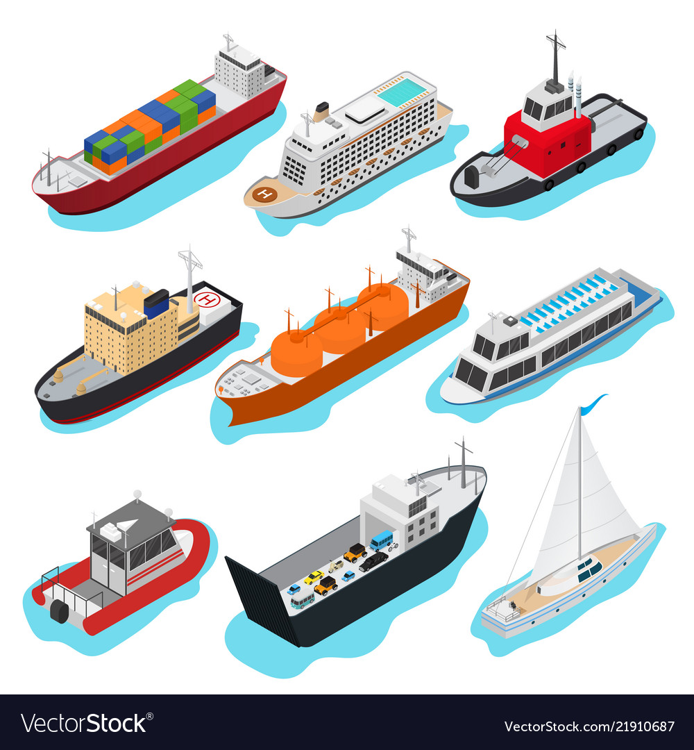 Commercial sea ships signs 3d icon set isometric