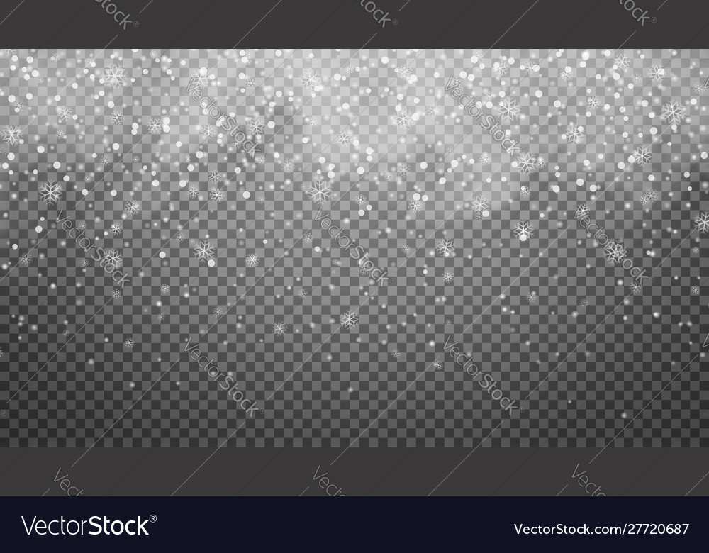 Falling snow on transparent background snowfall