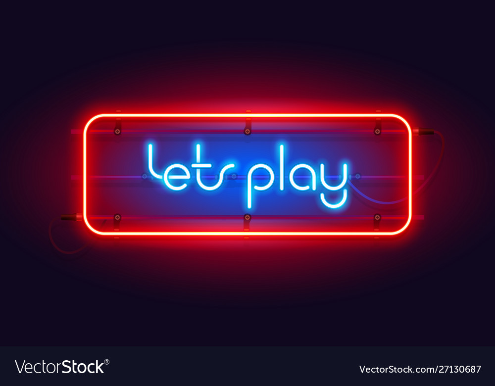 Horizontal colorful neon lets play sign