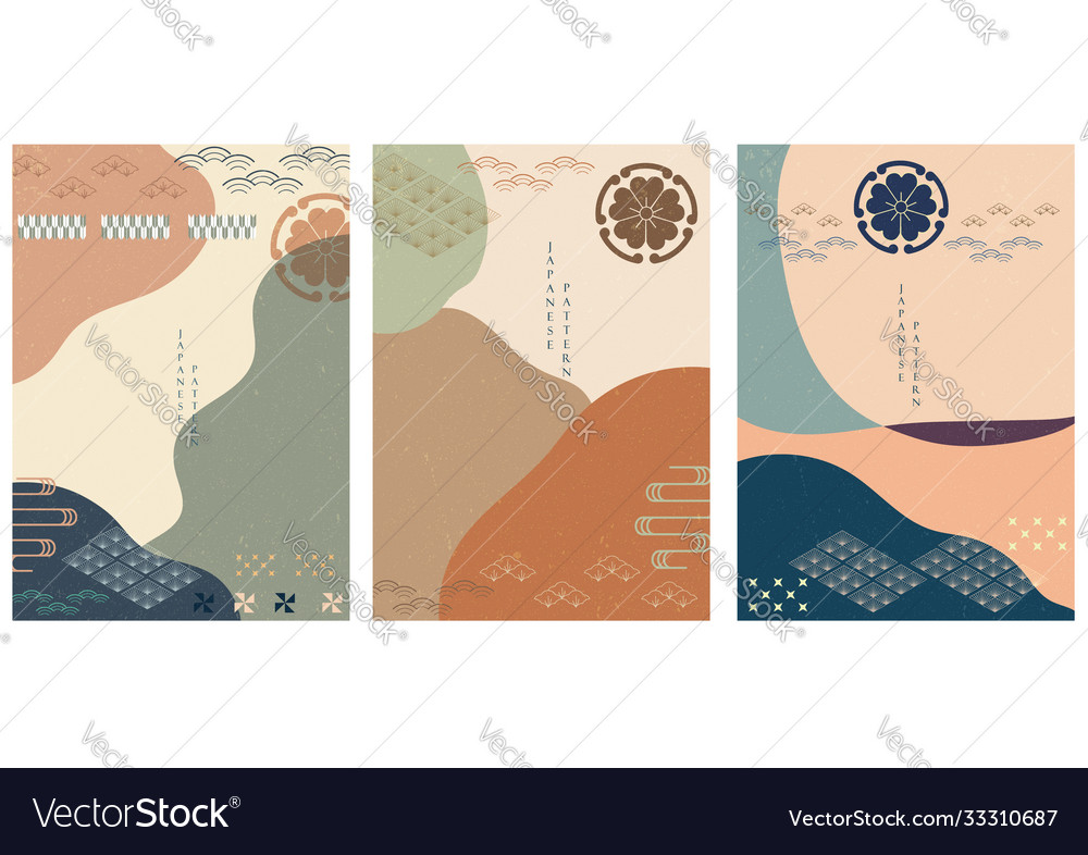 Japanese background with asian flower icons and
