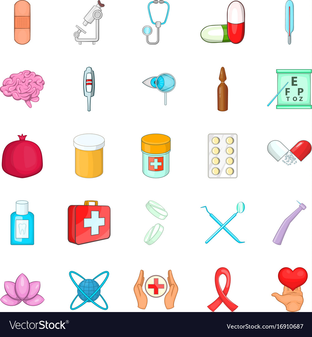Nursing Care Icons Set Cartoon Style Royalty Free Vector
