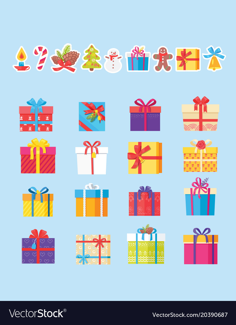 Set of icons with presents