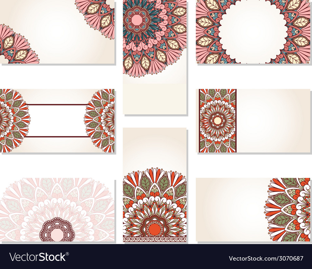 Set of ornamental business cards vector image