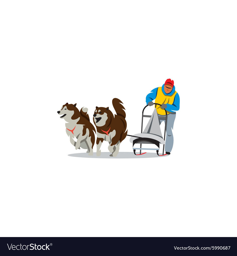 Sled dog racing sign Dogteam driver and Siberian vector image