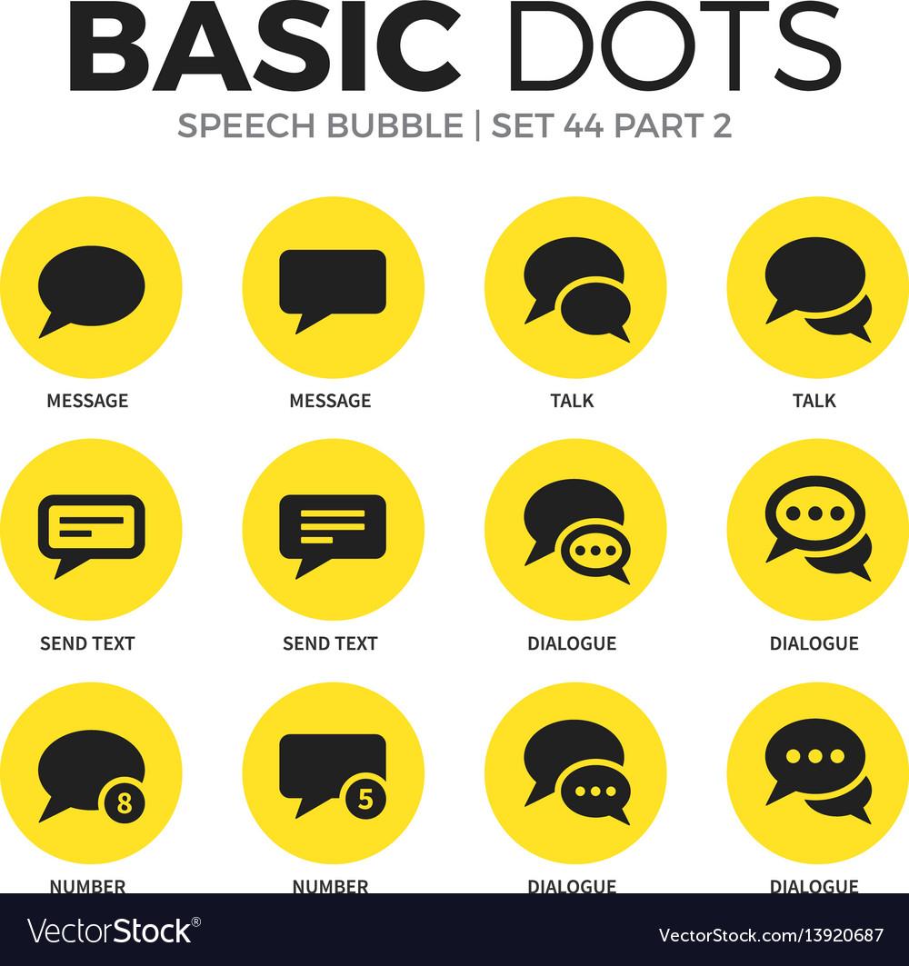 Speech bubble flat icons set