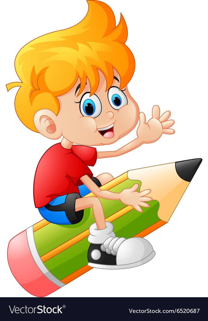 The boy riding the pencil