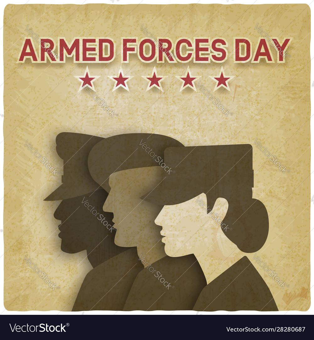 Three uniformed soldiers on vintage background