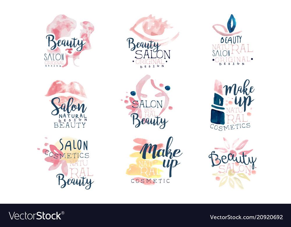 Beauty salon logo design set of