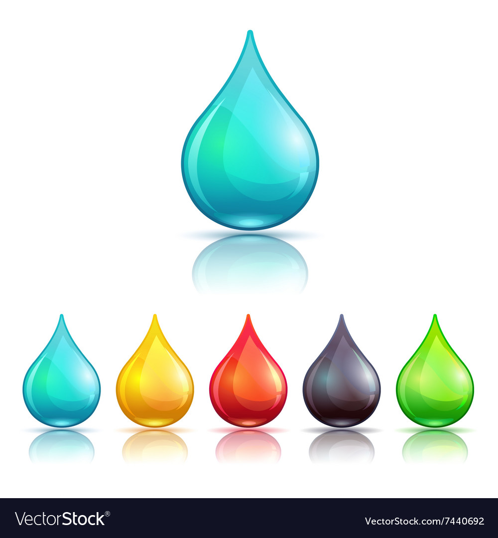 Cartoon colorful liquid drops set