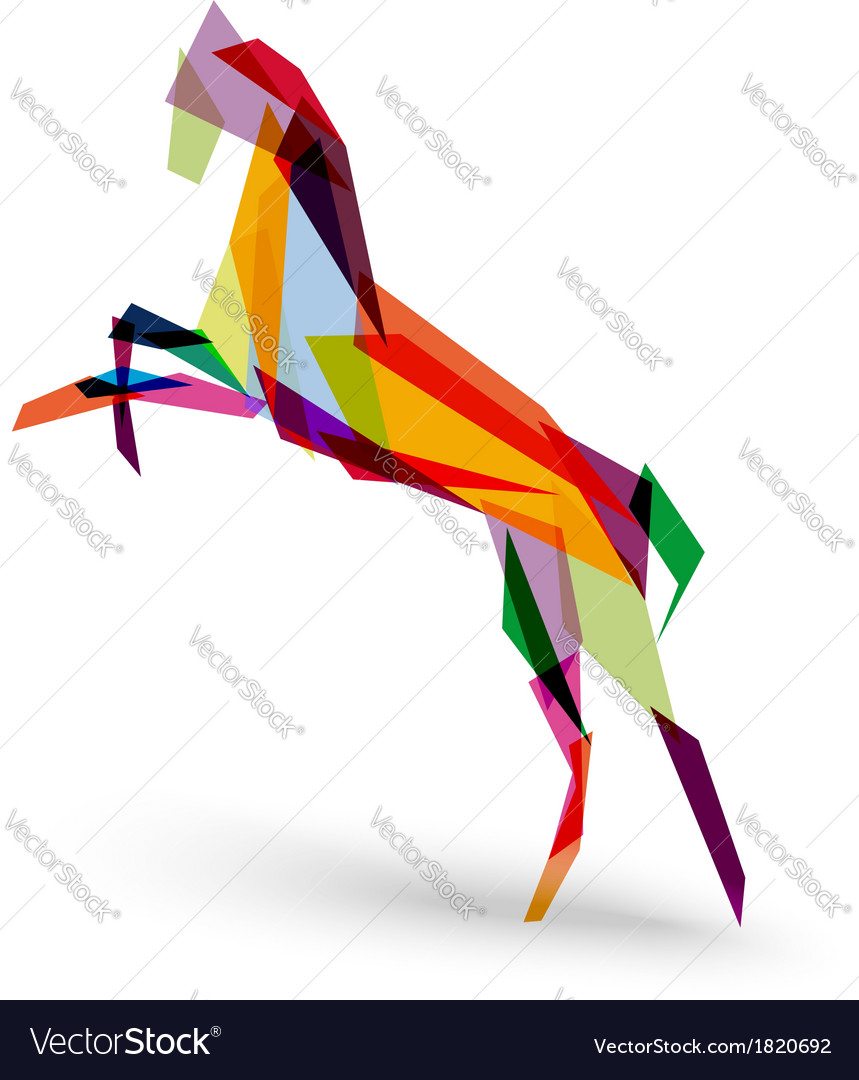 Chinese new year of the Horse colorful triangle vector image