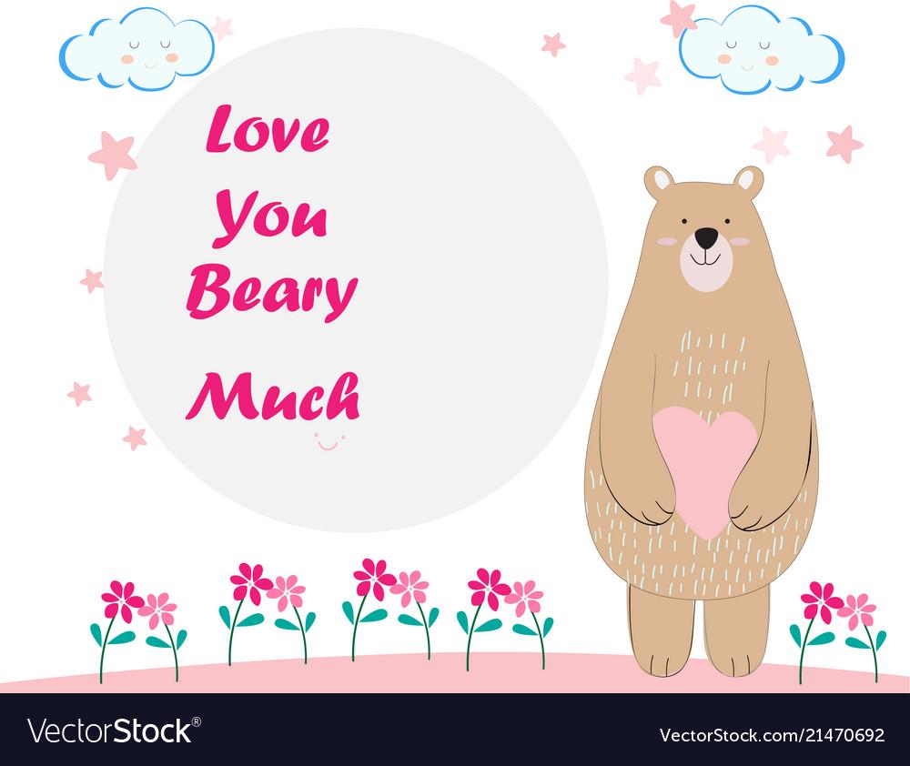 Cute Teddy Bear Cartoon Birthday Card Vector Image