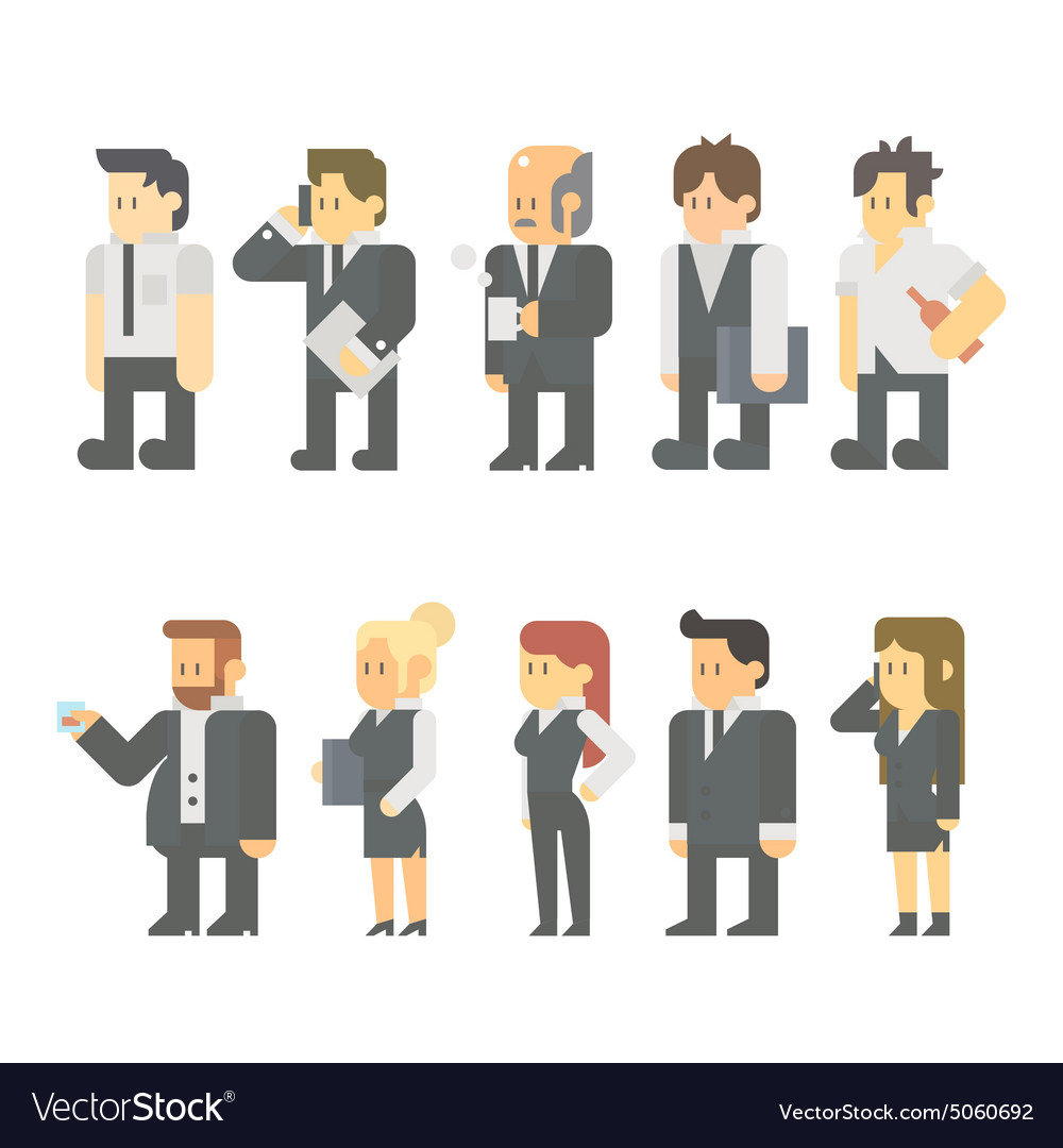 flat design of business people set royalty free vector image vectorstock