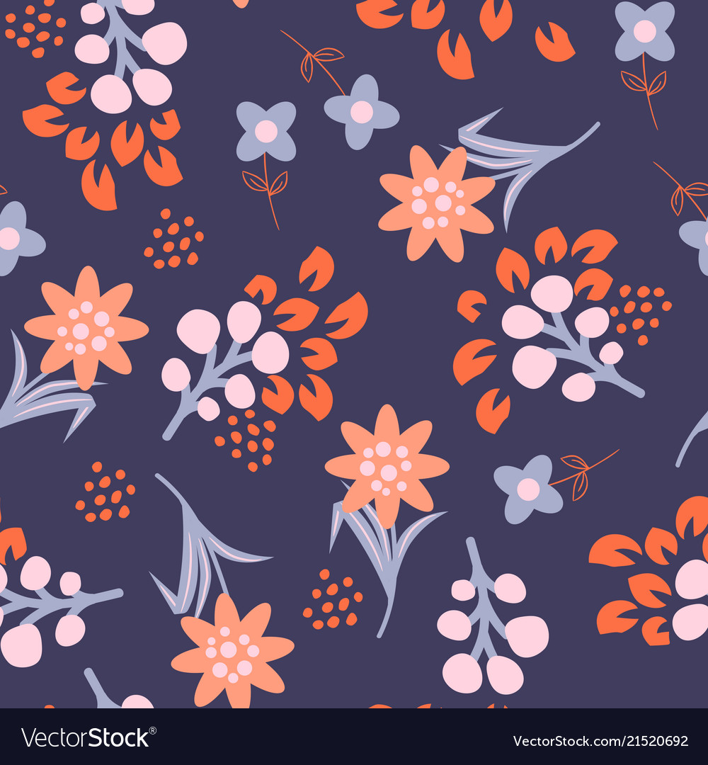 Floral violet red seamless pattern