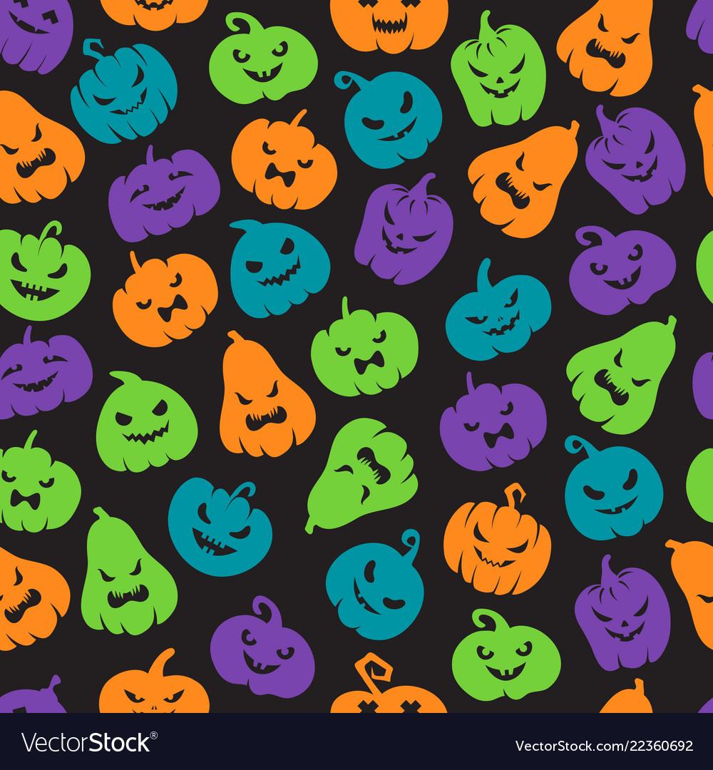 Halloween pumpkins seamless pattern scary jack o