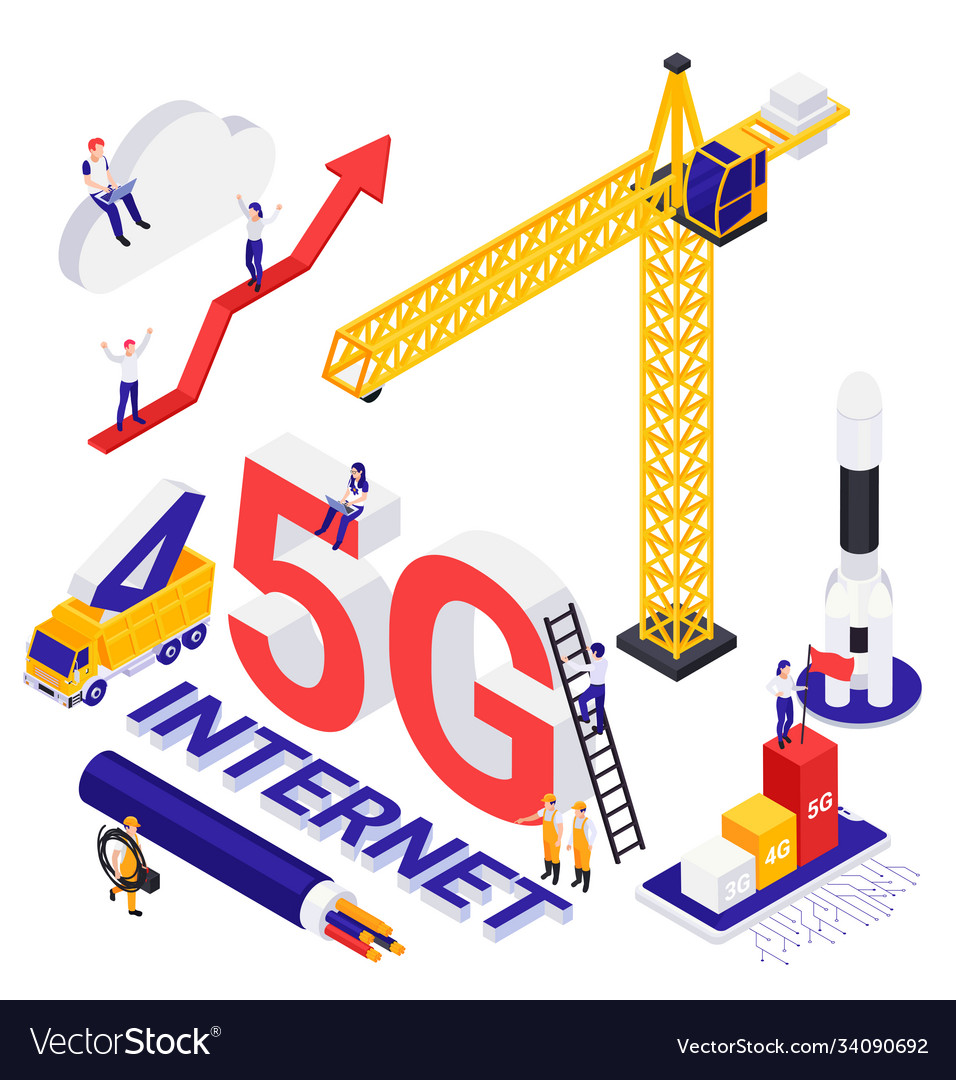 Internet 5g technology isometric composition
