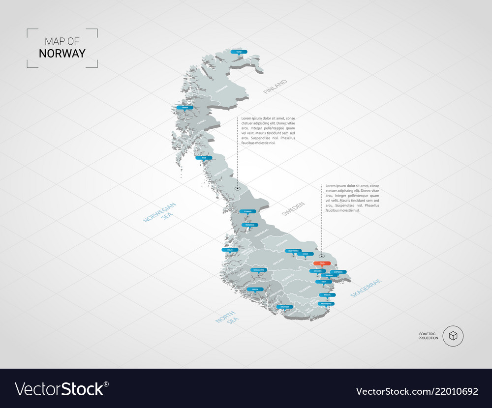 Isometric norway map with city names and Vector Image