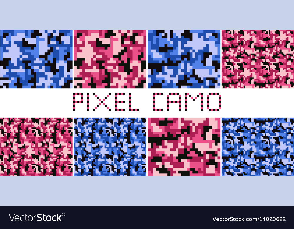 Pixel camo seamless pattern big set vector image
