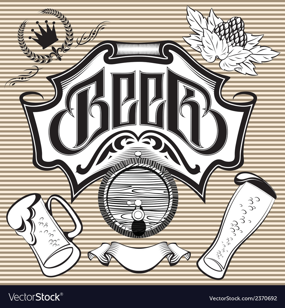 Set of design elements on the theme beer