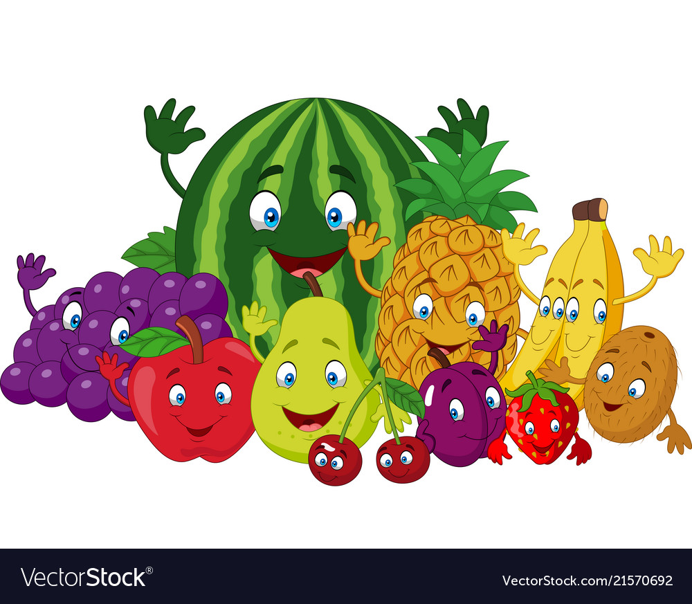 Set of various funny cartoon fruits Royalty Free Vector