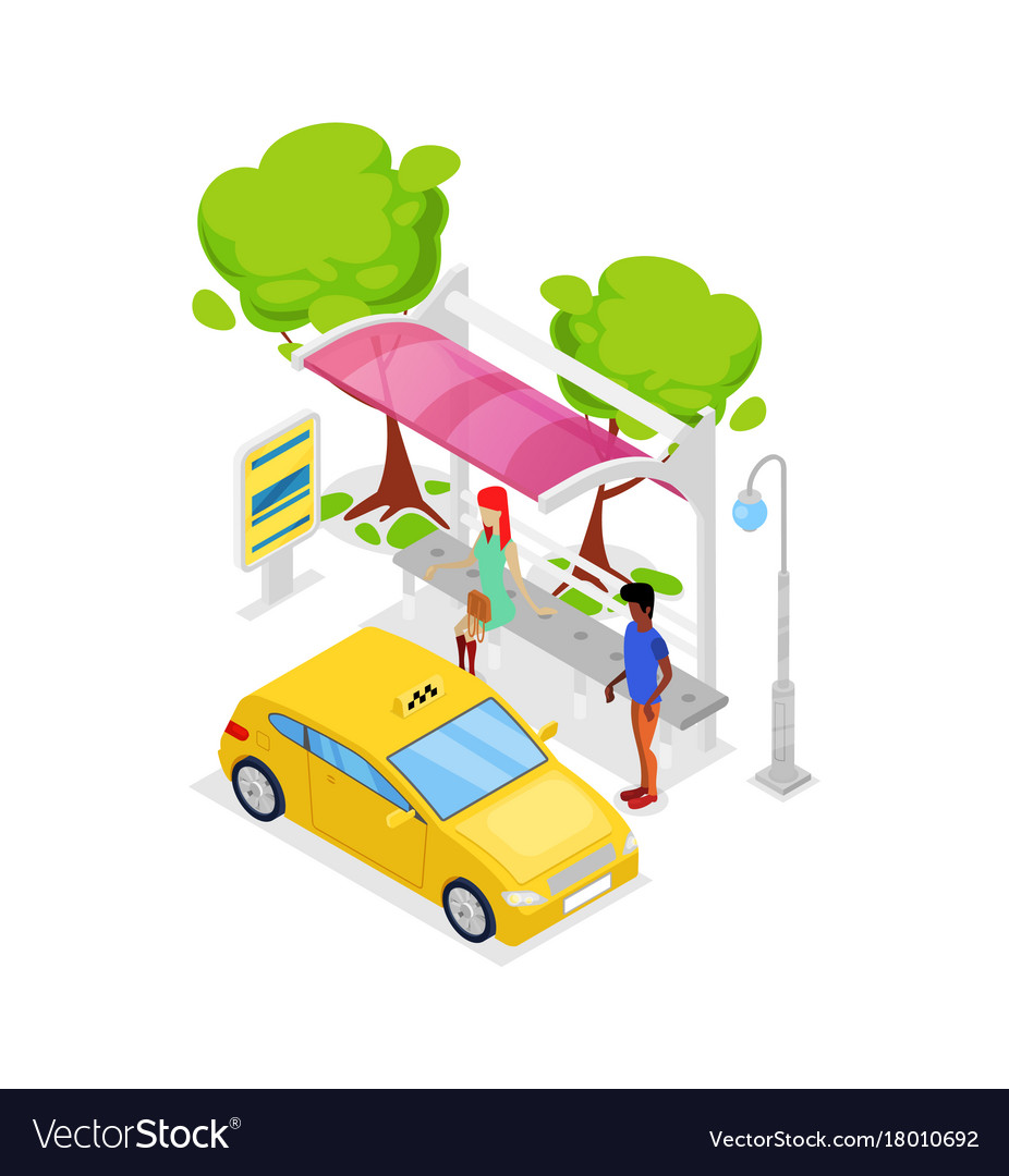 Taxi car stop isometric 3d icon