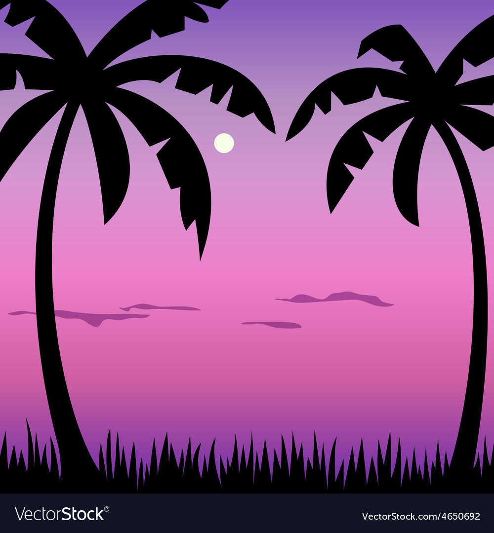 Tropical palms and moon landscape