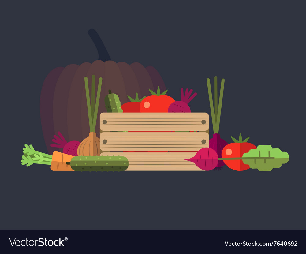 Vegetables farm flat design