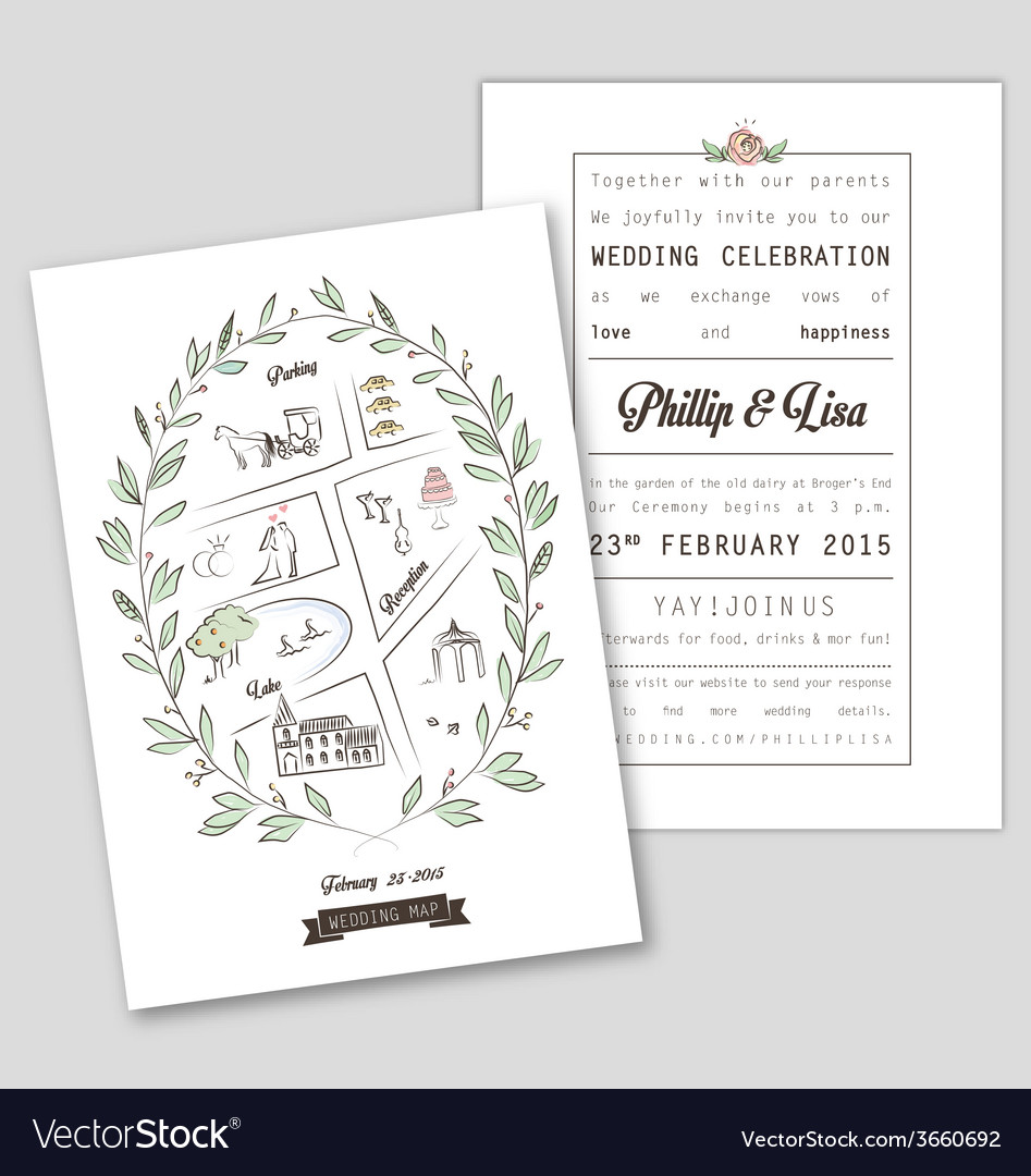 WEDDING INVITATION TEMPLATE WITH MAP Royalty Free Vector