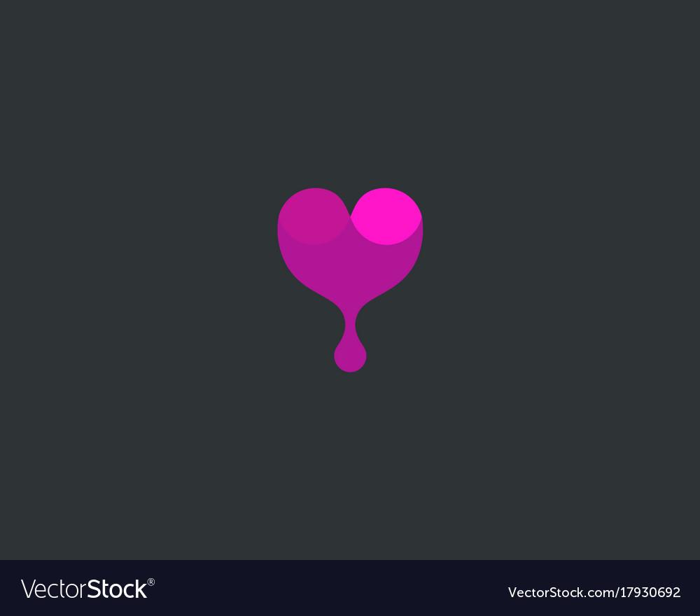 Wine logotype abstract drop heart logo