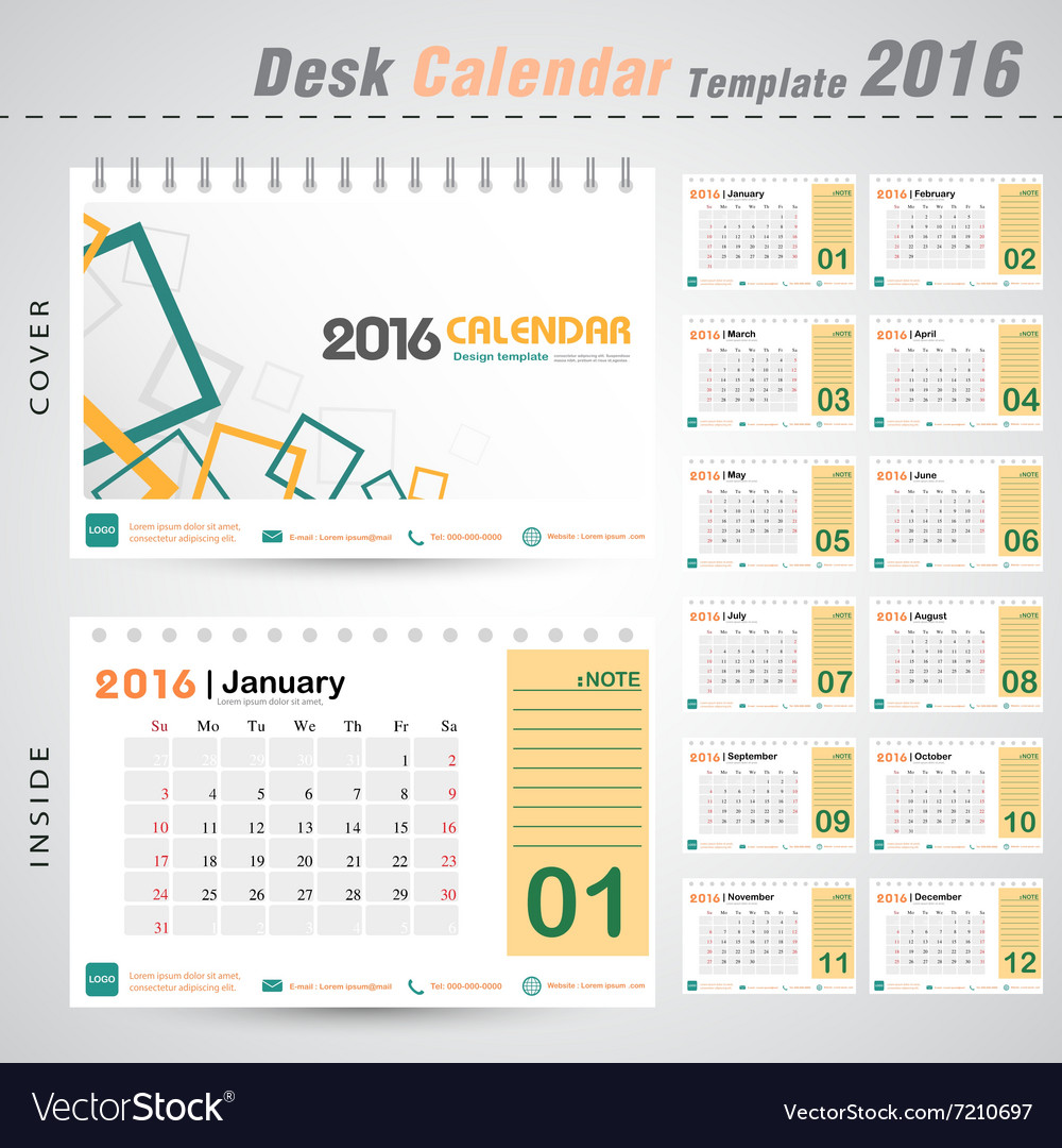 Desk calendar 2016 modern square design cover