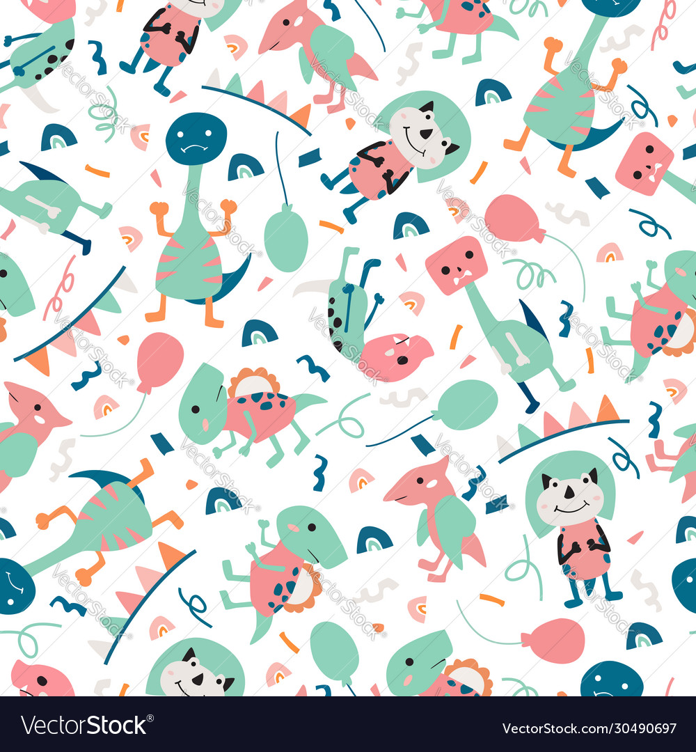 Dinosaurs seamless pattern for kids creative