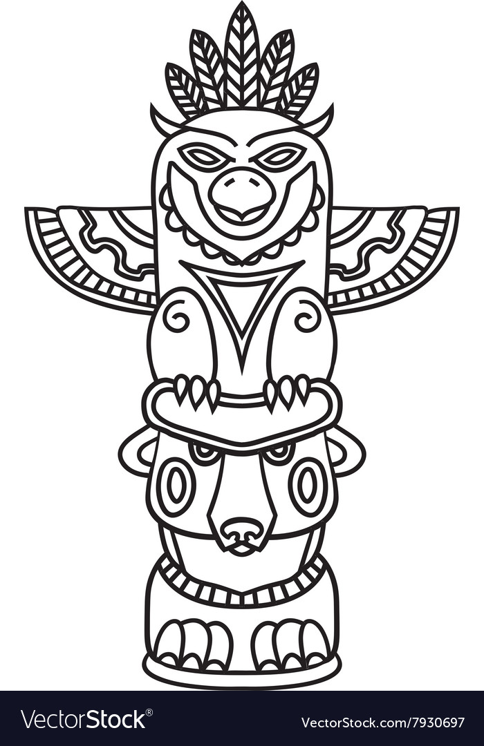 Doodle Traditional Tribal Totem Pole isolated on