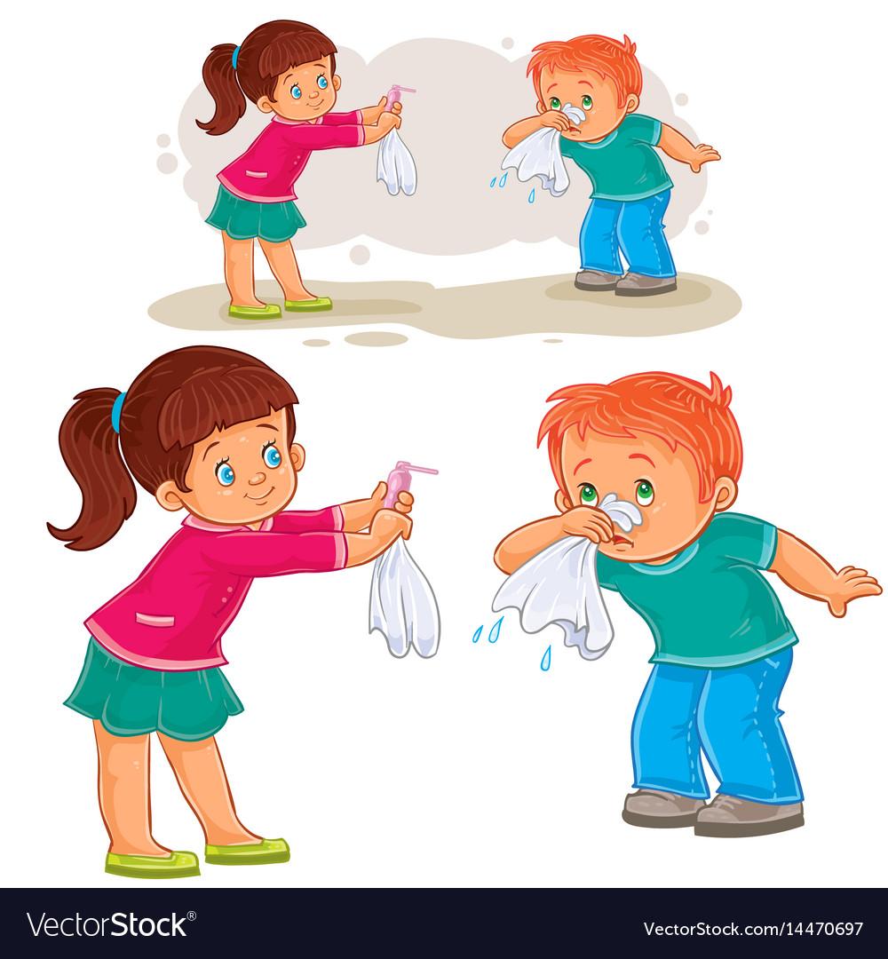 Little girl giving a handkerchief to a boy