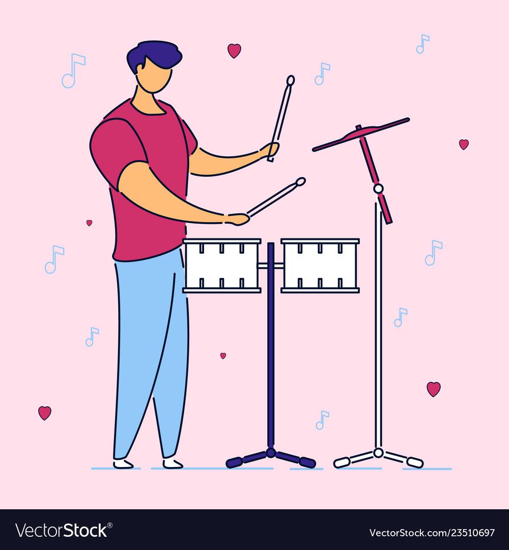 Modern flat cartoon character musical band drummer