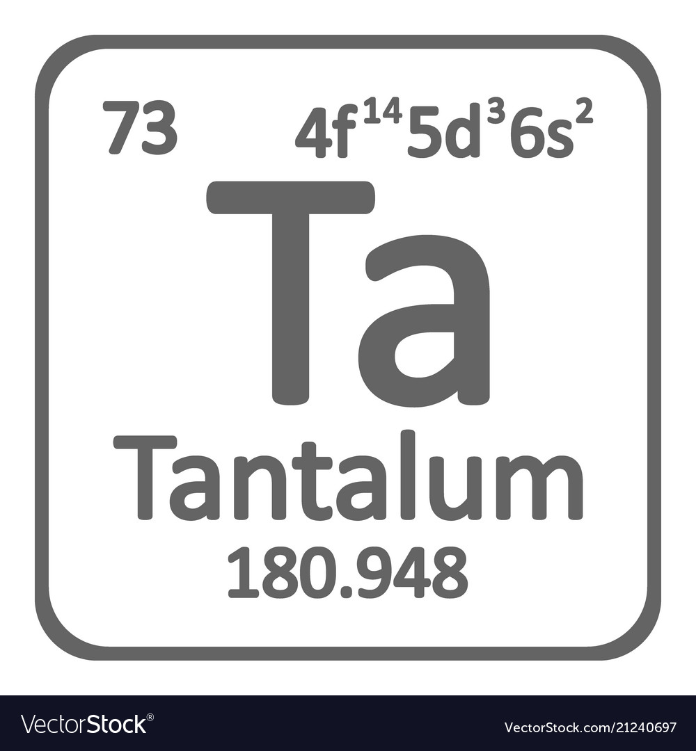Periodic Table Element Tantalum Icon Royalty Free Vector