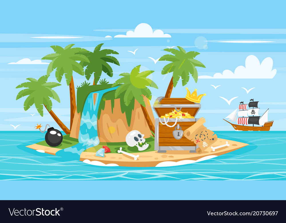 Pirate ship islan treasure chest