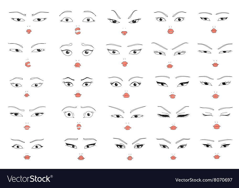 Set 25 different doddle emotions to create woman vector image