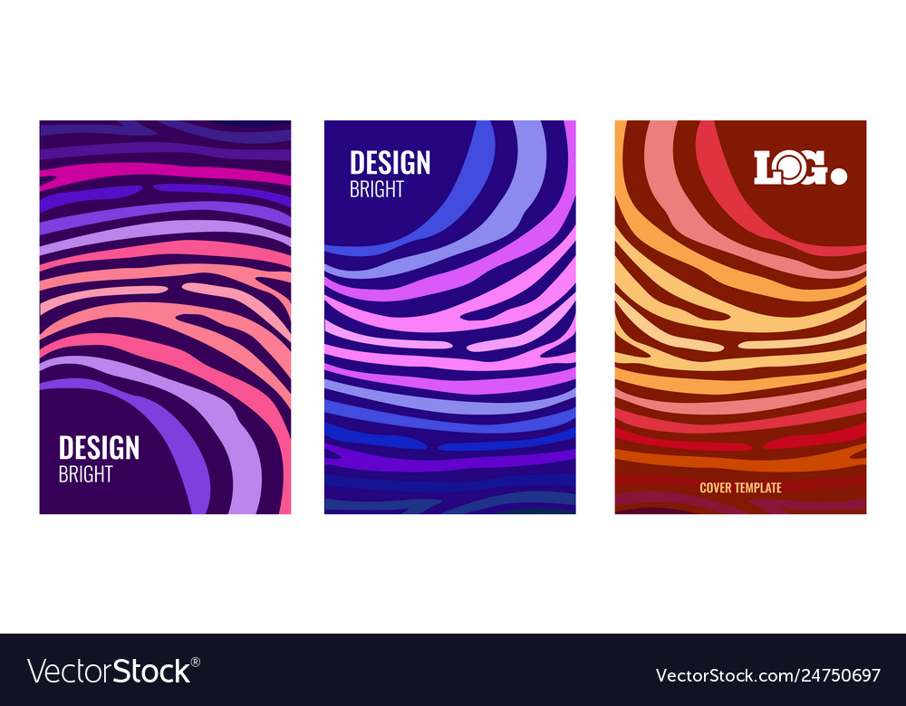 Set bright vertical abstract poster color strips