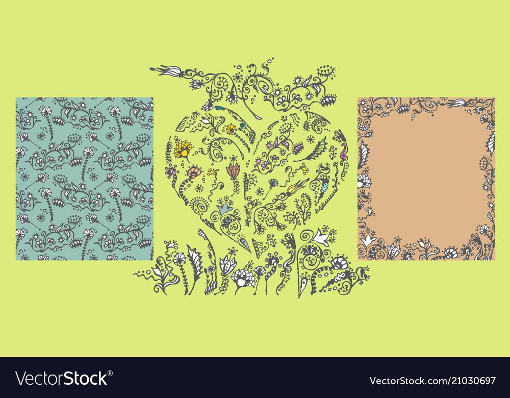 Set of hand drawn doodle floral elements