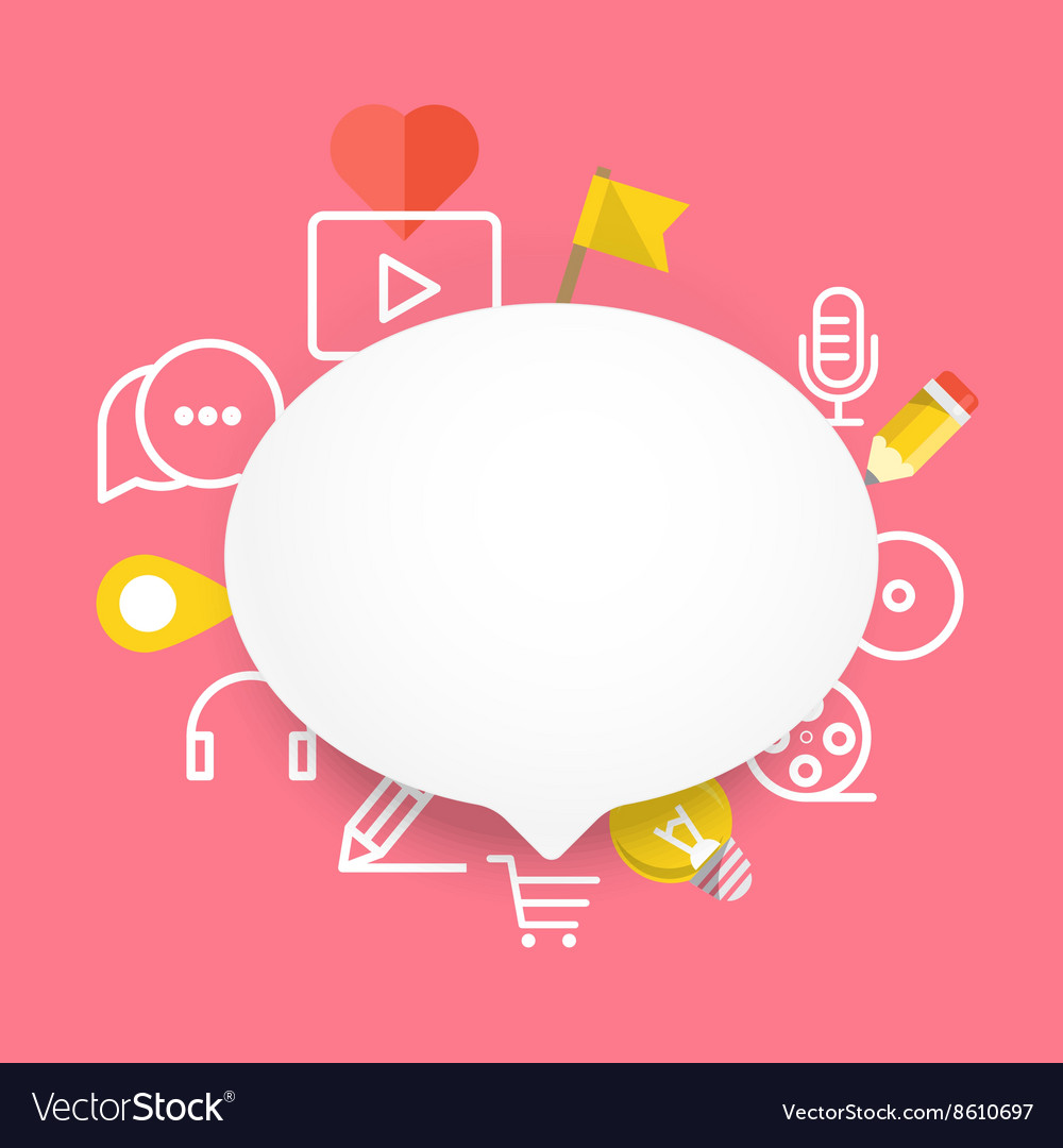 Speech cloud template with different icons Add