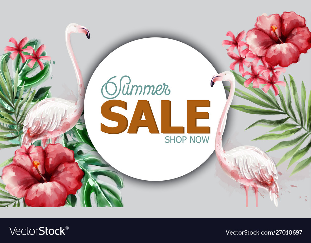 Summer tropic flowers and flamingo card