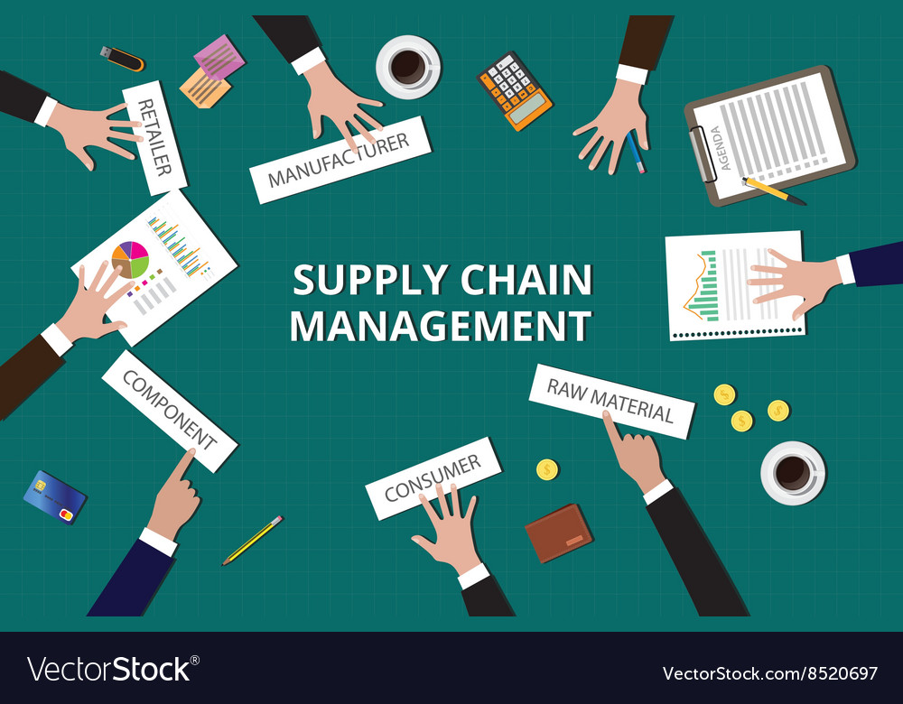 Supply chain management team work together on top