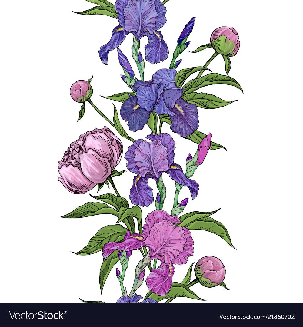 Beautiful flowers iris and peony seamless