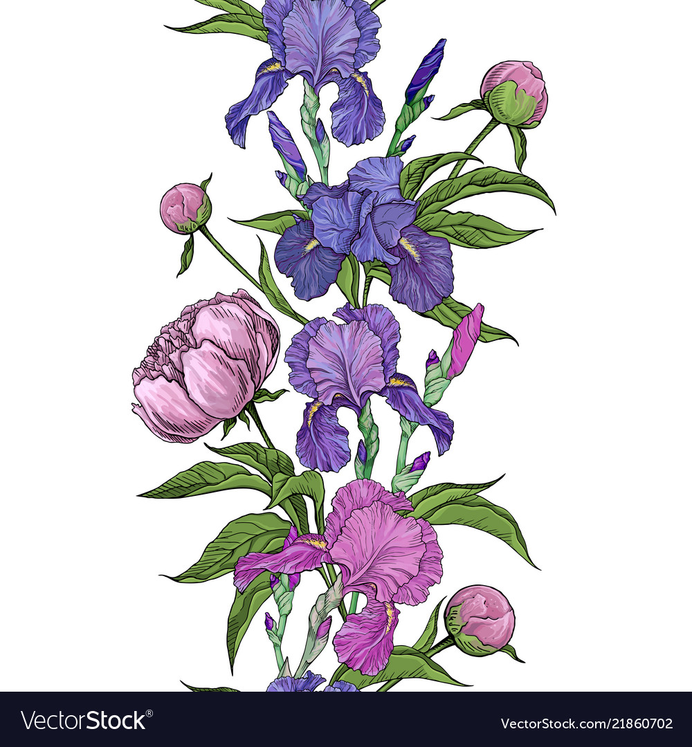 Beautiful flowers of iris and peony seamless
